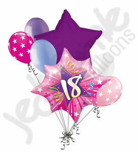 7 pc happy 18th birthday pink star burst balloon bouquet for Balloon decoration ideas for 18th birthday