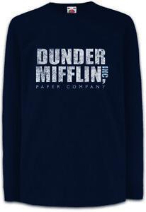 DUNDER-MIFFLIN-INC-Kinder-Langarm-T-Shirt-Paper-The-Sign-Logo-Office-Firma-Logo