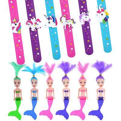6 Sirena Giocattolo & 6 Unicorno Braccialetti Bambini Bottino Party Bag Filler Favorisce Le Ragazze-