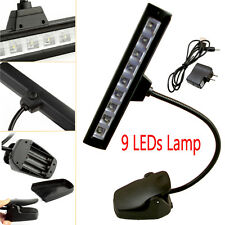 New 9 LEDs Clip-On Orchestra Music Stand Flexible LED W/ Adapter Lamp Light
