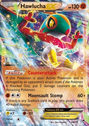 HAWLUCHA EX 64//111 XY Furious Fists Ultra Rare Holo Pokemon Card