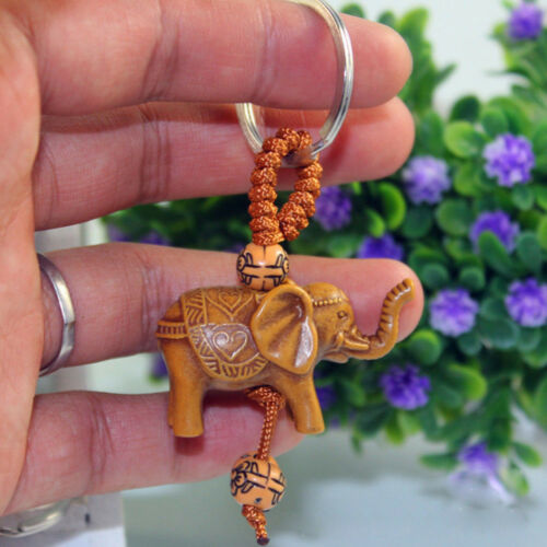 Wooden Lucky Elephant Carving Pendant Keychain Key Ring Chain Evil Defends New
