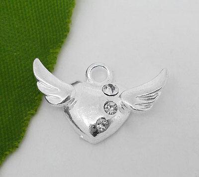 20 SP Rhinestone Heart&Wings Charm Pendants 20x13mm