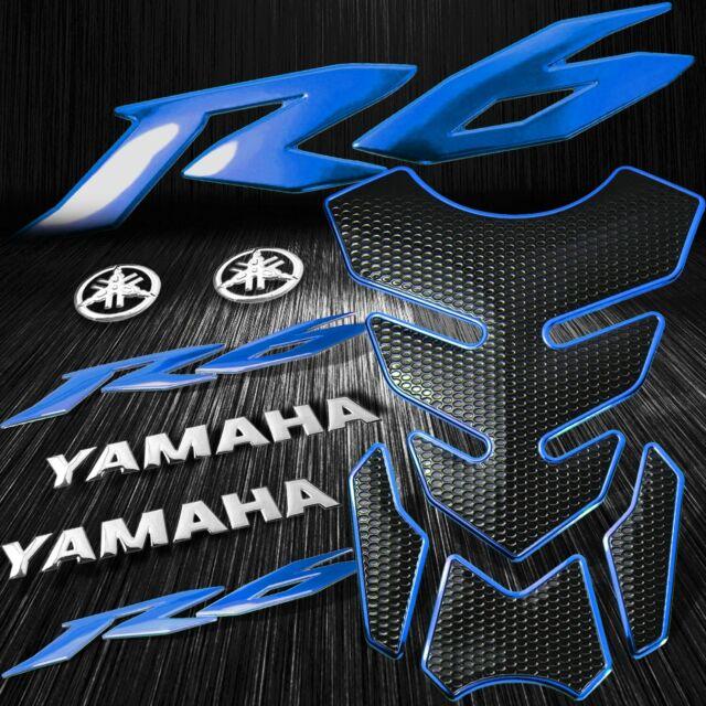 R1logo: 4PCs Blue Fuel Tank Pad+YZF-R6/R6S Emblem Sticker+6