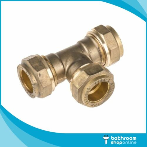 25 Pack 22mm Brass Compression Pipe Fittings Equal Tee