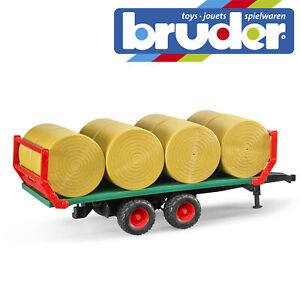 Bruder-Bale-Transport-Trailer-With-8-Round-Bales-Kids-Farm-Toy-Model-Scale-1-16