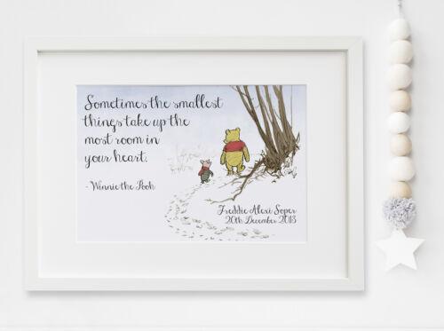 Personalised New Baby Winnie the Pooh Birth Nursery Print Christening UNFRAMED