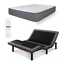 adjustable twin xl electric motorized bed frame base with hybrid mattress remote