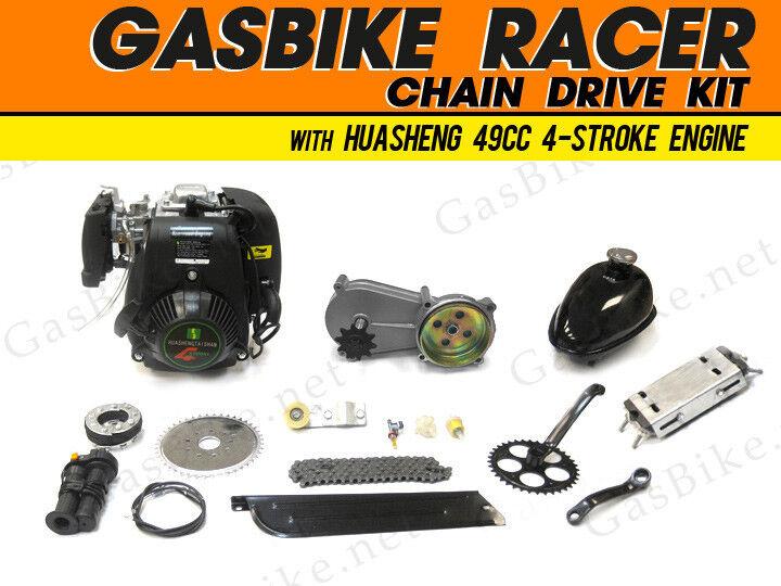 GasBike Racer Chain Drive Kit with HuaSheng 49cc 4-Stroke Engine Gas Motori