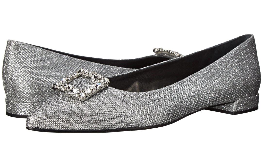 Stuart Weitzman Women's Silver black Divine Pointed Toe Flats Sz 9.5M 2798