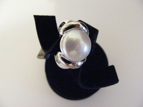 Honora 13.5 mm Cultured Freshwater Coin pearl Sterling Silver Ring Taille 5,6,10