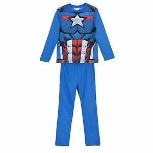 Boys Captain America Pyjamas Kids PJs Nightwear 4 to 10 Years Long Sleeve Blue