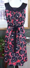 Alfani Red/Black Floral Silk Shift Dress 12