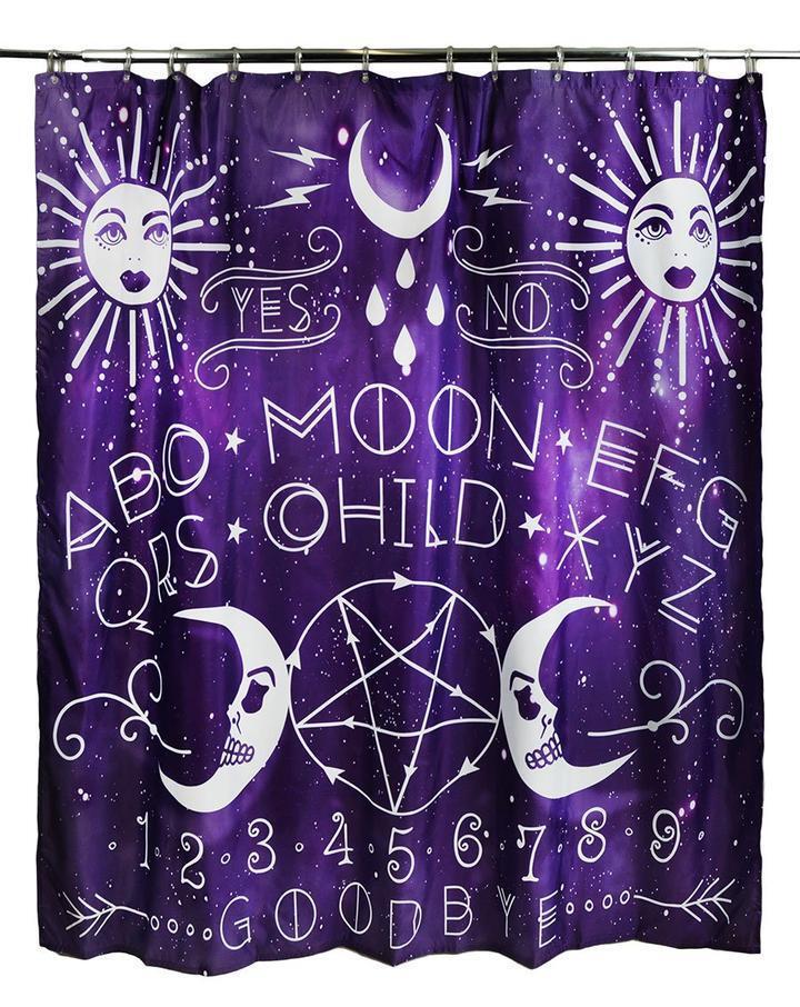 Shower Curtain Sun Moon Stars Tarot Card Bats Skeleton Graveyard Ouija Spirits 01135b