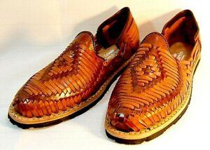 Details about Men's Mexican Huarache leather 2 tone Sport shoe dress sandal  slip on Closed Toe