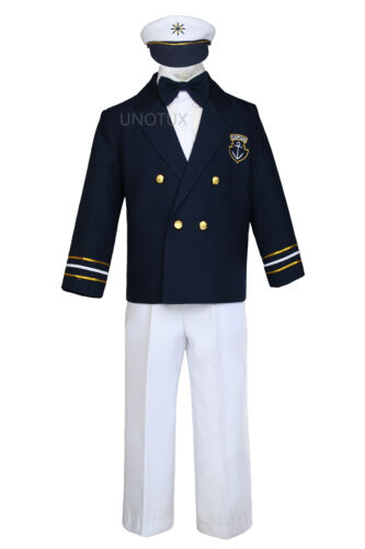 Boy Toddler Wedding  Formal Sailor Suit Outfits sz 6M to 7 Years Old Navy//White