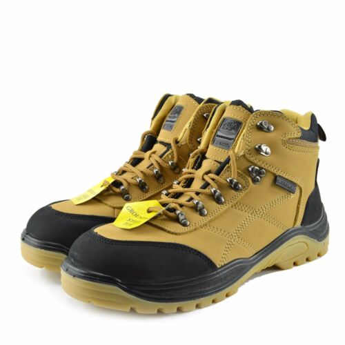 Mens Comfort Work Safety Boots Steel Toe Cap Groundwork Upper Leather UK3-UK14