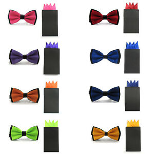 New-Men-Satin-Dual-Color-Bowtie-Pre-folded-4-Point-Solid-Pocket-Square-Hanky-Set