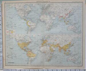 1906 Landkarte Welt Commerce Opium Drugs Kampfer Chinarindenbaum Anis Rizinus Öl