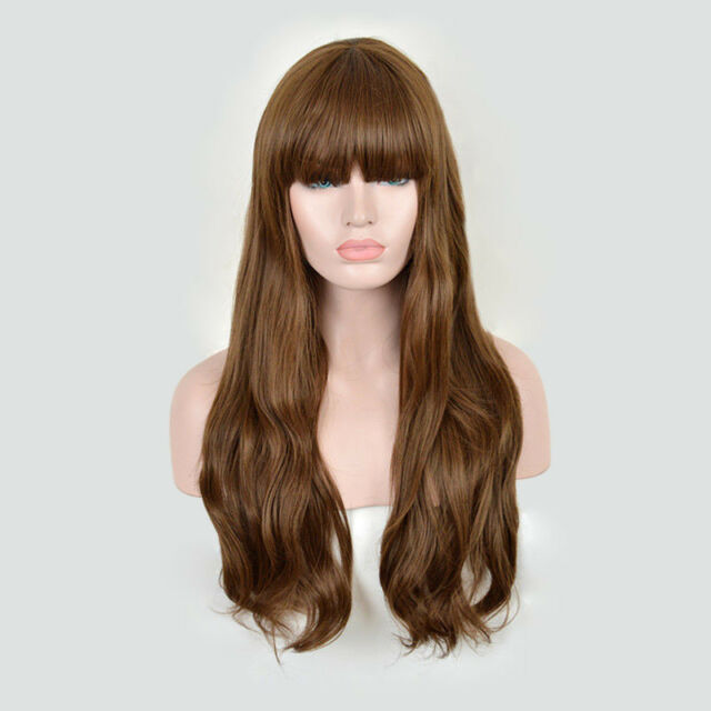 light brown women s long wig natural wavy blunt bangs heat resistent