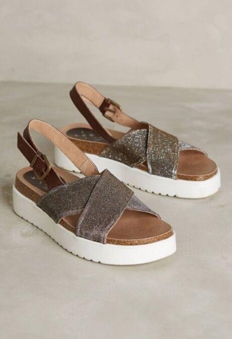 Anthropologie KMB 8 shoes Shimmered Diamantha Flatform Sandals Metallic gold NIB
