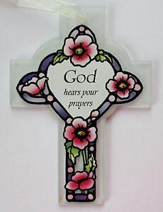 cc God hears your prayers GLASS CROSS ORNAMENT Easter hope faith believe ganz