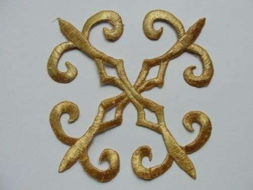 Gold Metallic Floral Square Scrollwork Crest Costume Iron On Patch Applique 5 In