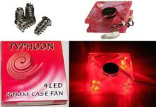 4Screws+80mm/3inch Ball Bearing Tower Computer Cooling Case Fan 4/3pin {4LED RED