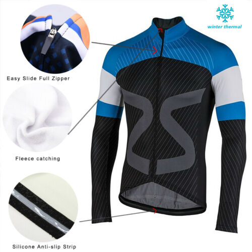 2019 Cycling Fleece Jersey Clothing Men/'s Bicycle MTB Top Thermal Winter Jackets