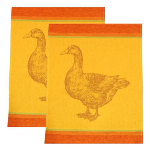 DRIESSEN SCHLITZER LEINEN 2 Geschirrtücher Halbleinen 50x70 GANS rotgold