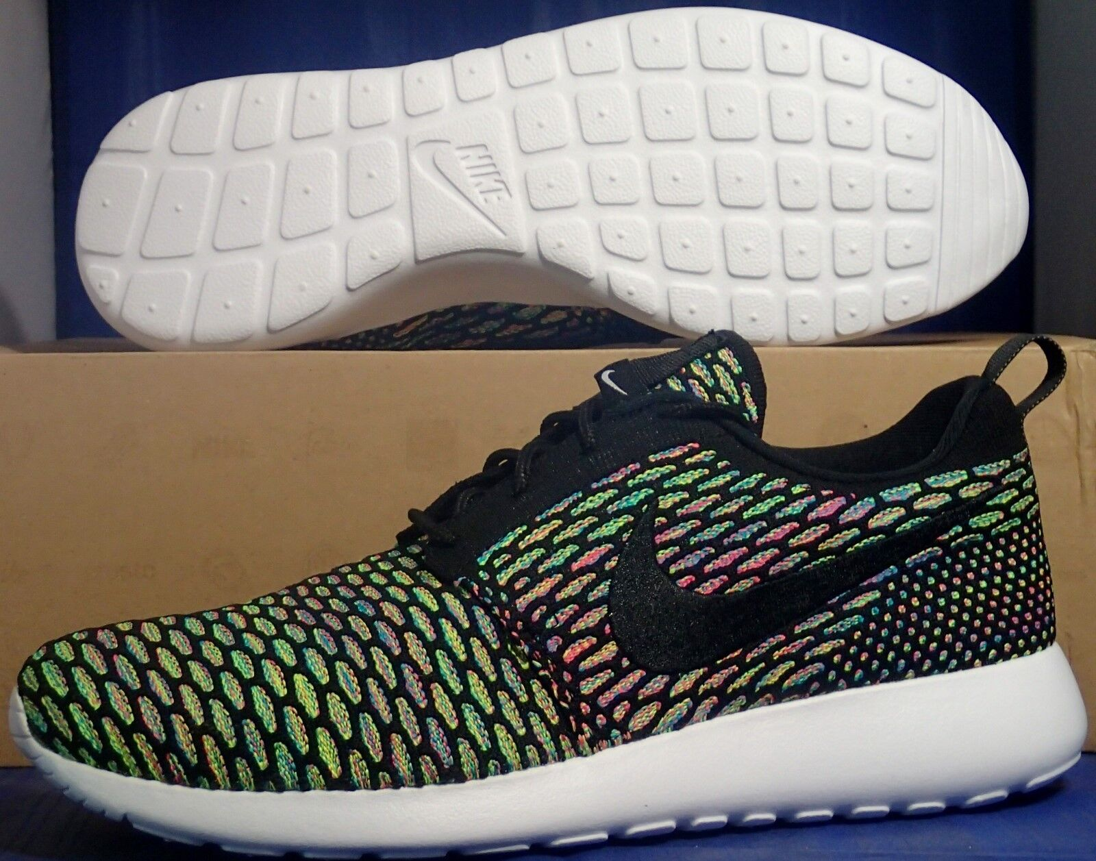 74b1d64417465 free shipping Nike Flyknit Roshe Run iD Multi-Color SZ 9 ( 718293 ...