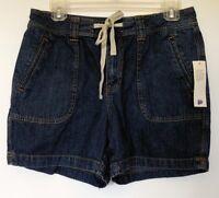 St. John's Bay Blue Denim Drawstring Casual Jean Shorts 10p