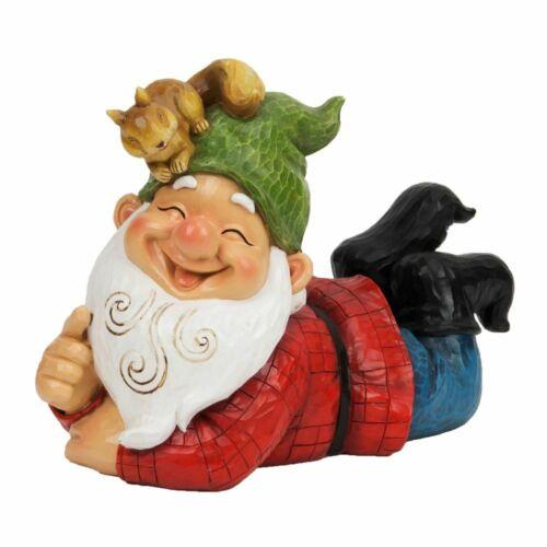 ECCENTRICO ridendo posa GNOMO Verde Cappello Scoiattolo Testa Decorazione Giardino Caratteristica