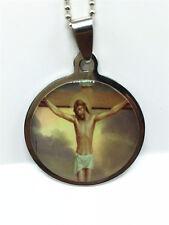 Fashion Jesus Cross Silver 316L Stainless Steel Titanium Pendant Necklace !