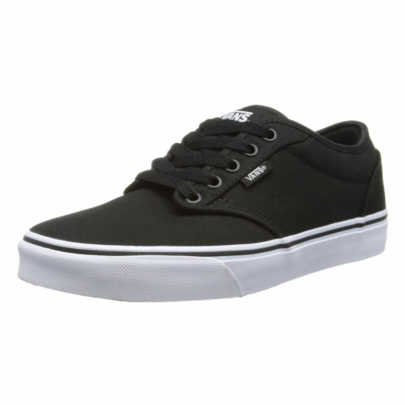 VANS Atwood Trainers Hombre Canvas Skater Trainers Atwood Plain Zapatos Lace Up Plimsoll Negro Blanco a62692