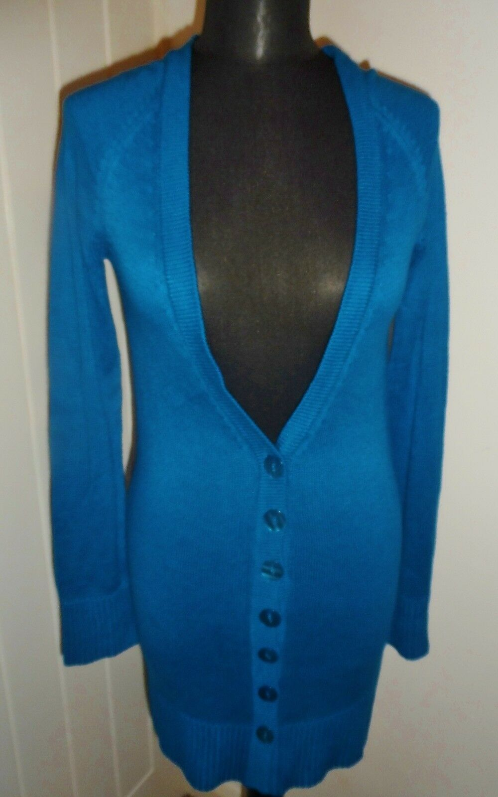 COPPERNOB Teal bluee Bamboo Yarn Long Length Cardigan in Size 10 BNWT