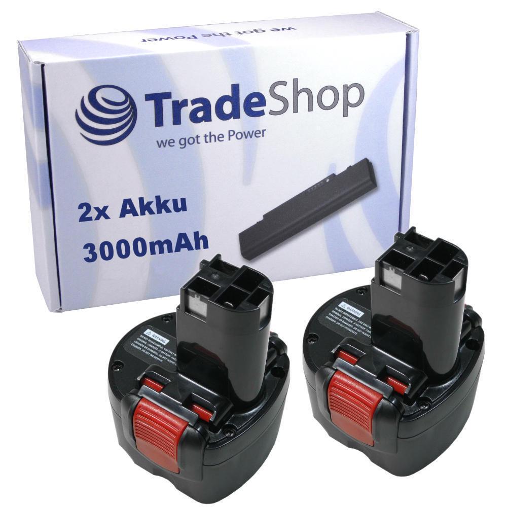 2x AKKU für Bosch 9,6V 3000mAh Ni-MH ersetzt 2 607 335 674, 2607335674