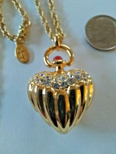Joan Rivers Crystal Puffy Gold Heart Red Cabochon