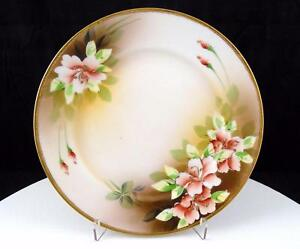 BAVARIA-GERMANY-TIGER-LILY-AND-GOLD-BEADED-RIM-7-5-8-034-CABINET-PLATE