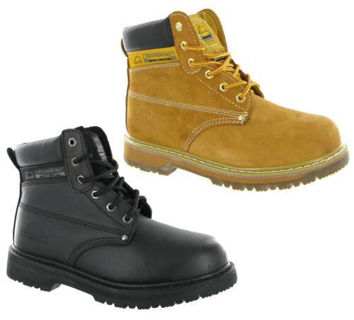 Groundwork Cuoio sicurezza punta in acciaio PAC imbottito alla caviglia da uomo lavoro Stivali uk3-13