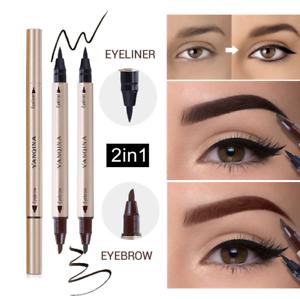 Cabeza-De-Doble-Lapicera-Lapiz-Delineador-de-Ojos-Liquido-Delineador-Maquillaje-Belleza-Negra