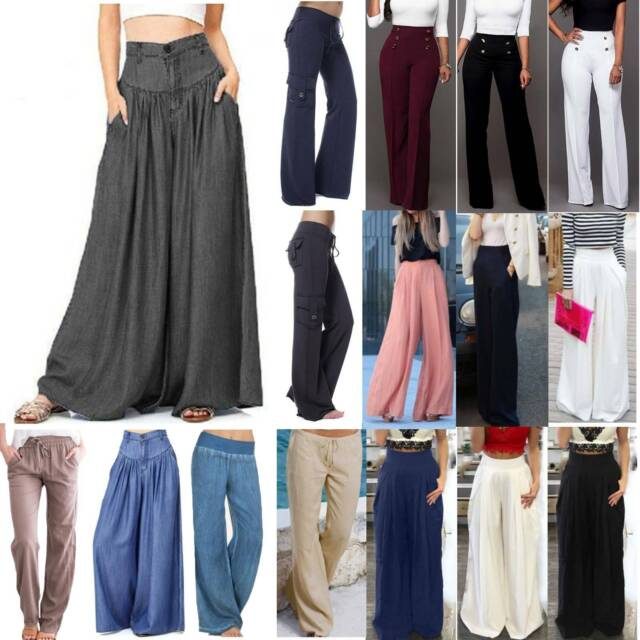Womens Wide Leg Trousers Ladies Flared Stretch Elasticated Summer Palazzos 8-22.