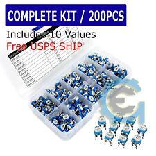 Usa 200pcs 10 Values Potentiometer Trimpot Variable Resistor Assortment Box Kit