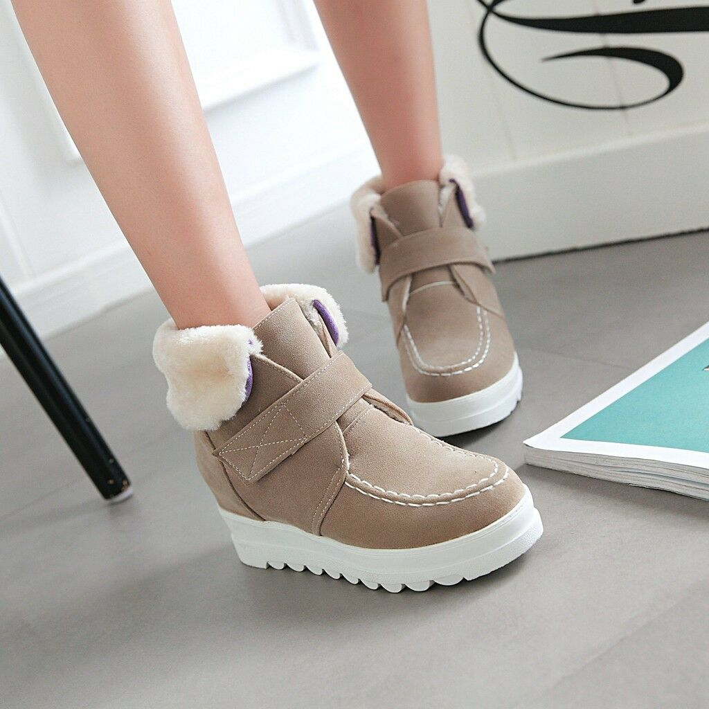 Women Wedge Heels Platform Hook Loop Winter Snow Ankle Boots Leisure shoes New