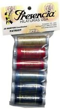 PRESENCIA COTTON SEWING THREAD SAMPLER- PATRIOT, 6 Colors 3 Ply 50wt NEW