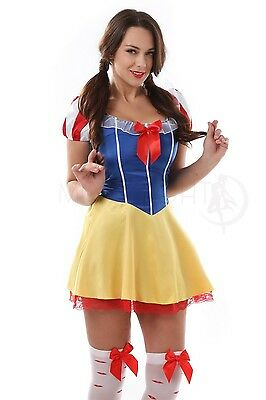 Sexy Adult Snow White Corset Costume Fairy Tale Princess Halloween Fancy Dress