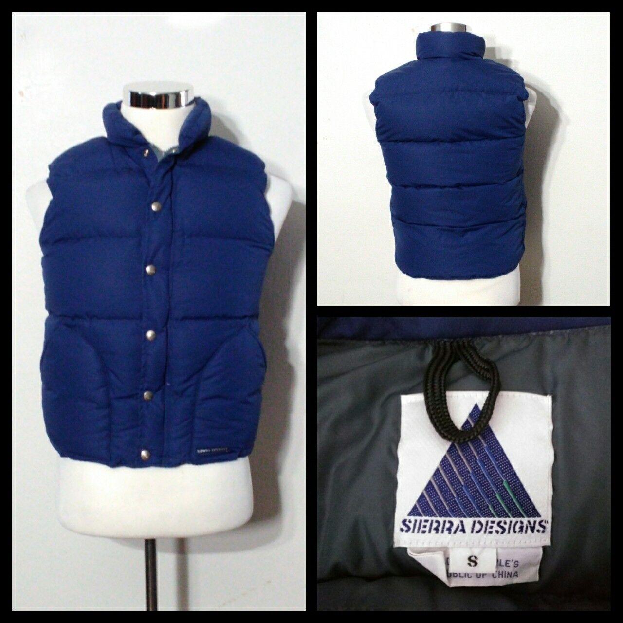 Sierra Designs Vintage Down Vest Men's Sm. 36 bluee Full Zip w  Snaps Inv S9360