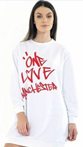 Womens Ladies One Love Manchester Concert Sweatshirt Oversized Dress Top Jumper