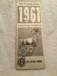 1961 Wyoming Deer Hunting Orders License Regulations W/Great Foldout ...