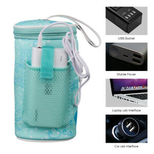 Portable Bottle Warmer Heater Travel Baby Kids Milk Water USB Cover Pouch Sof ZY
